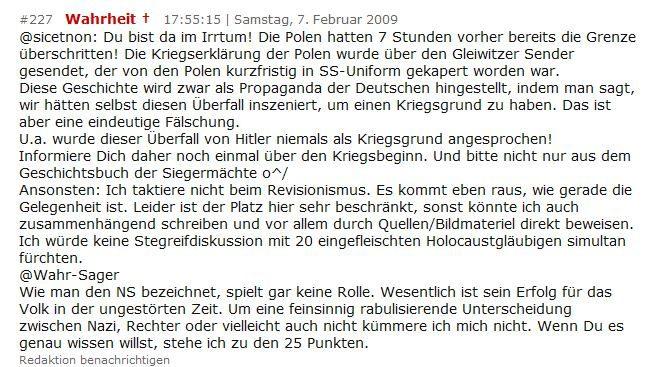 Poster auf kreuz.net bekennt sich zum 25-Punkte-Programm der NSDAP