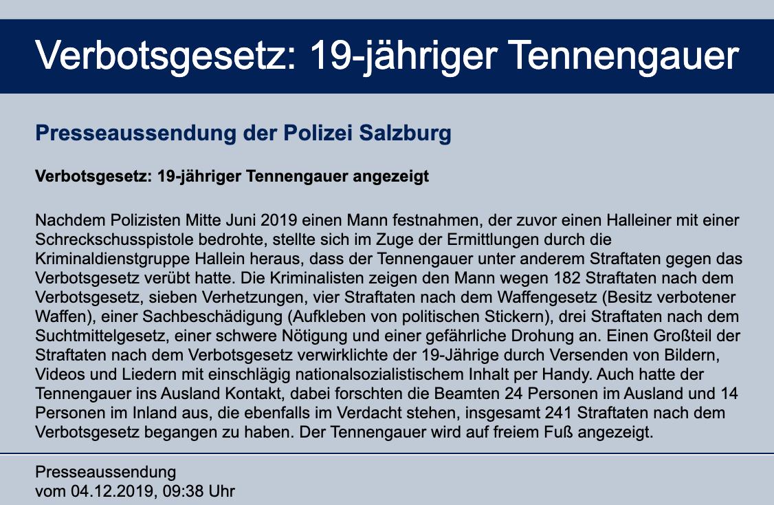 Meldung LPD Salzburg (4.12.19): 19-jähriger Tennengauer angezeigt