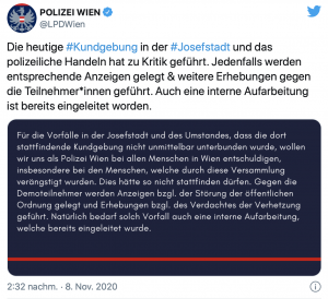"""Tweet LPD Wien (8.11.20): """"Für die Vorfälle (...)wollen wir uns als Polizei (...) entschuldigen."""""""
