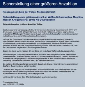 Pressemitteilung LPD Niederösterreich 18.1.21
