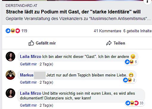 """Mirzo: """"vorsichtig sein mit euren Likes"""" (Screenshot Facebook)"""