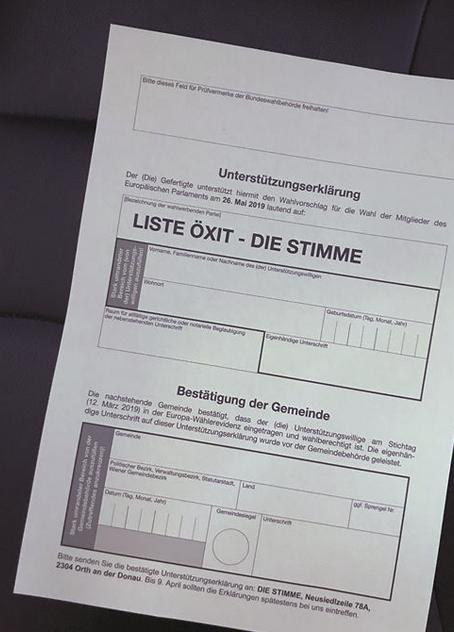 """""""Liste Öxit""""-Unterstützungserklärung für EU Wahl 2019"""