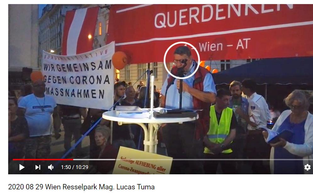 Lucas Tuma am 29.8. als Redner bei der Coronaleugner-Demo