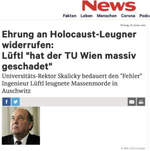 TU Wien widerruft eine Ehrung für Holocaustleugner Lüftl (aus: News)