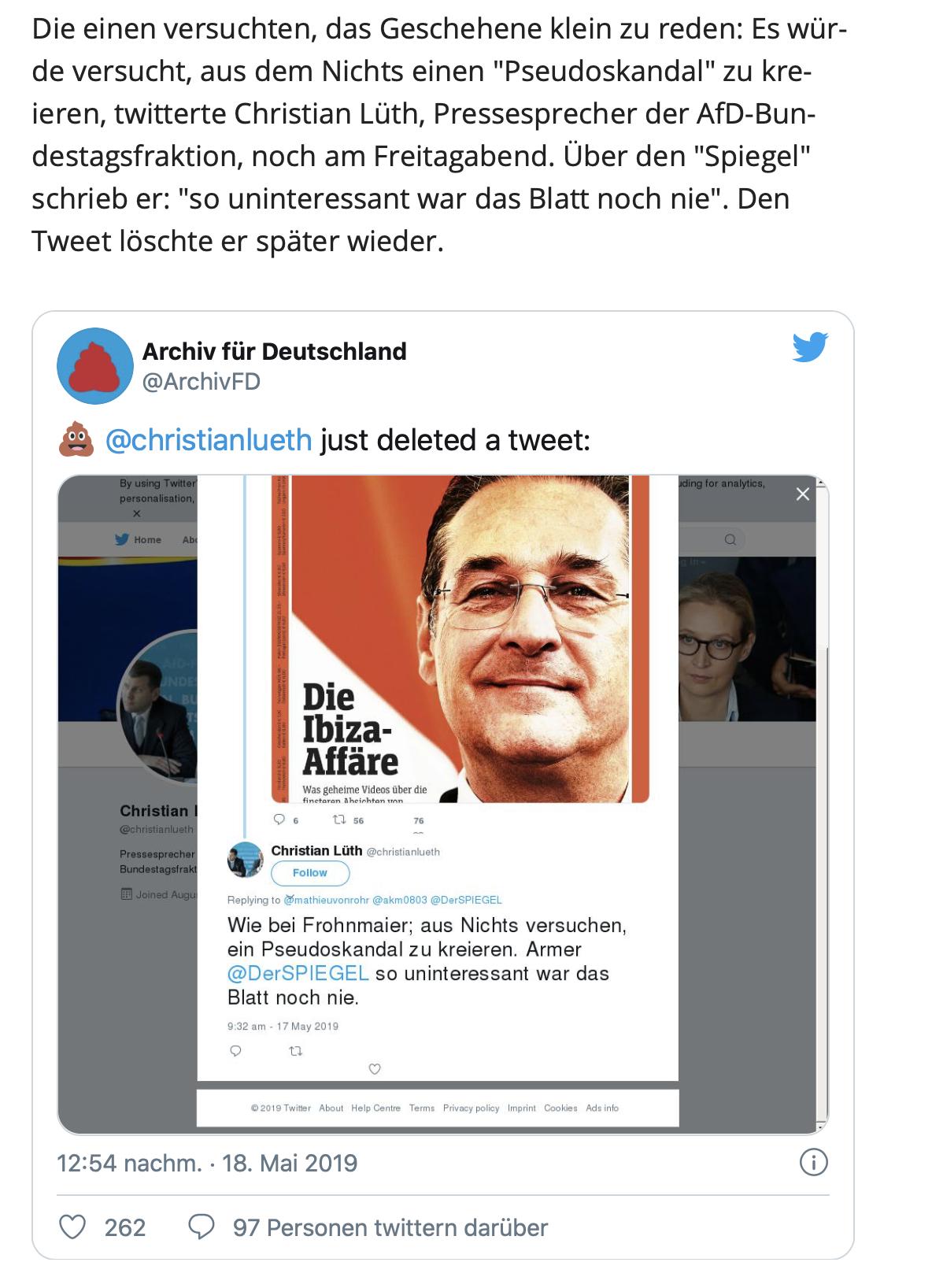 """Lüth zu Ibiza: """"Pseudoskandal"""" - den Tweet löschte er wieder"""