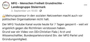 """MFG klagt über """"Meinungszensur"""""""