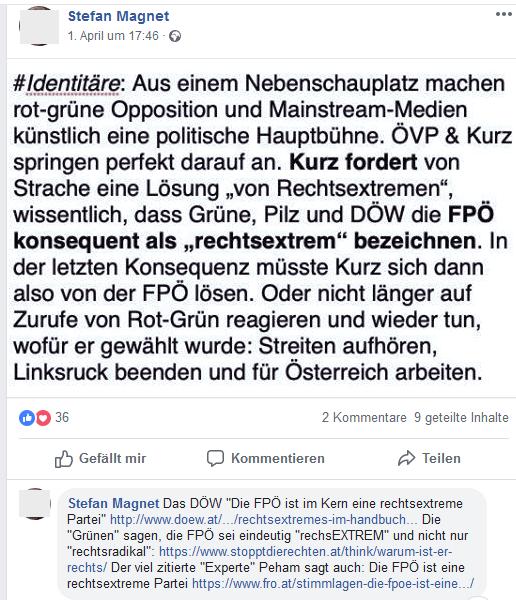 Stefan Magnet zu FPÖ und Identitäre (Screenshot FB 3.4.19)
