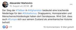 Markovics zum Sieg der Taliban (Screenshot FB)