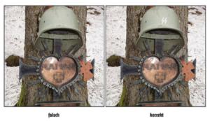 "SS-Denkmal in Imst: links Original, rechts Helm mit SS-Rune (""Firmenlogo"")"
