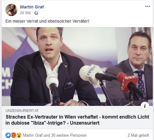 """Martin Graf über Ex-Strache-Bodyguard: """"Ein mieser Verrat und ebensolcher Verräter!"""""""