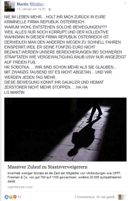 """Martin und der Staatenbund: """"Eure kriminelle Firma Republik Österreich"""""""