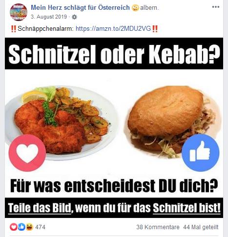 """Fan-Seite """"Mein Herz schlägt für Österreich"""": Pro-Schnitzel-Abstimmung"""