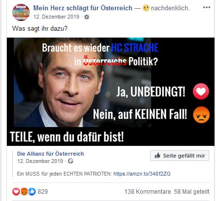 """Fan-Seite """"Mein Herz schlägt für Österreich"""": Abstimmung über Strache (Dez. 19)"""