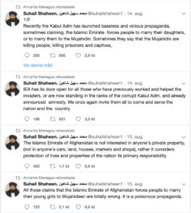 Menegus retweetet Taliban-Sprecher