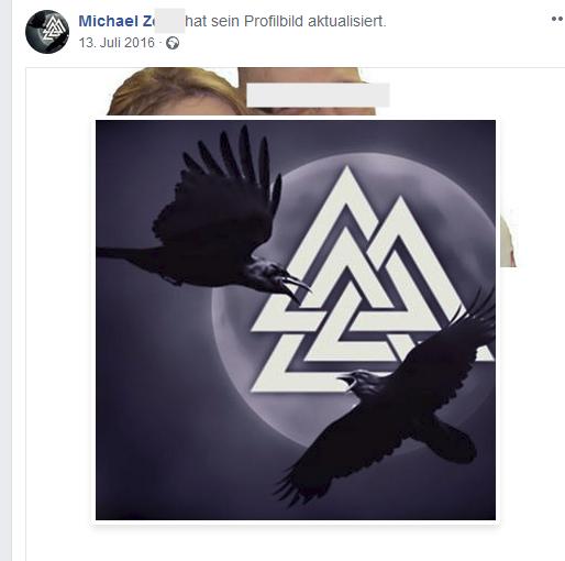 Der Auf-Funktionär Michael Z. mit Triskele als Profilbild
