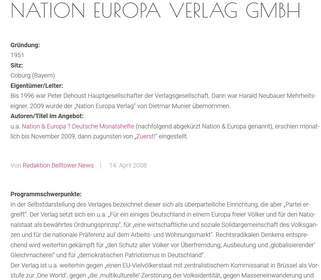 """Nation Europa Verlag: """"Für ein Europa freier Völker"""""""