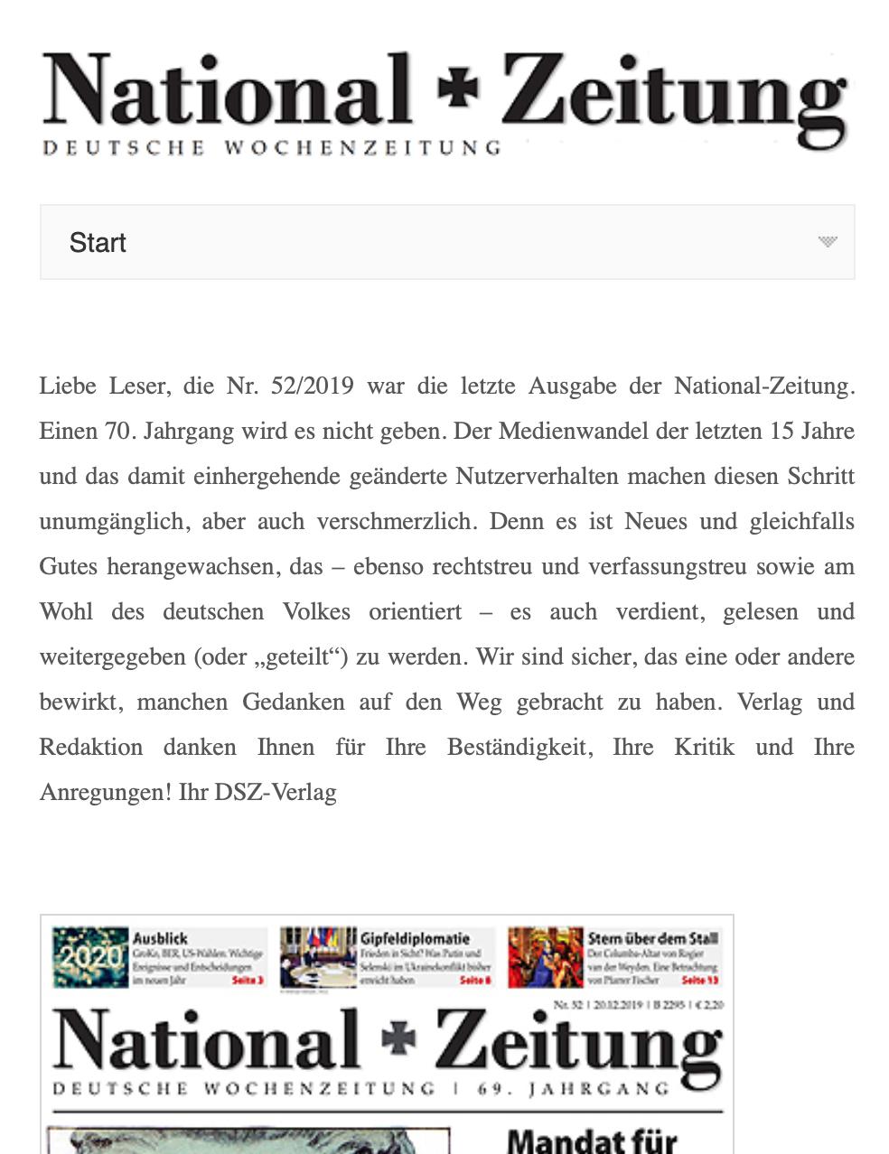 National-Zeitung verkündet nach 69 Jahren braunen Treibens ihr Aus