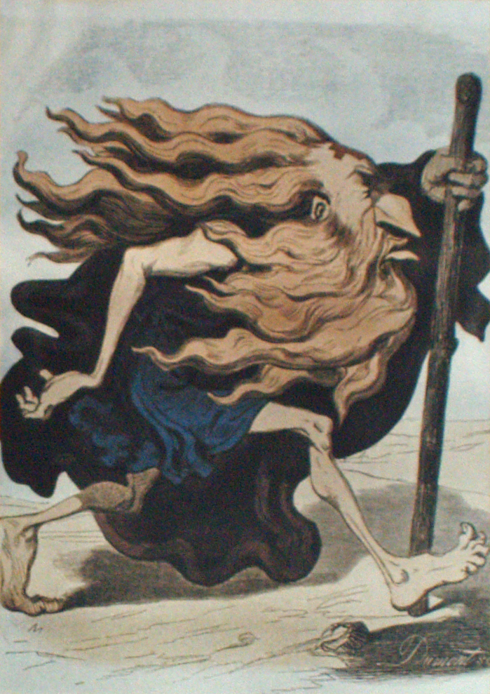 Der wandernde Ewige Jude, farbiger Holzschnitt von Gustave Doré, 1852, Reproduktion in einer Ausstellung in Yad Vashem, 2007 (David Shankbone https://commons.wikimedia.org/w/index.php?curid=3271930)