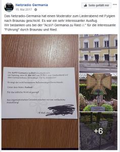 Das Netzradio Germania am 15. Mai 2017 über den Besuch bei der Germania Ried und in Braunau (Screenshot Facebook, 16.6.18)