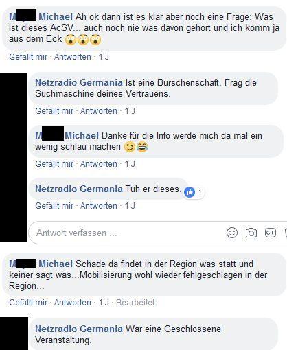 Kommentar eines amtsbekannten und verurteilten Neonazis unter dem Posting des Netzradio Germania
