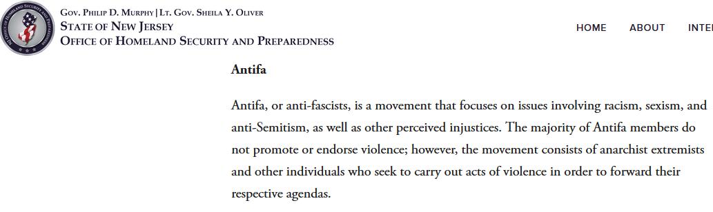 Office for Homeland Security New Jersey: Eintrag zu Antifa