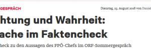 News: Faktencheck Strache Sommergespräch 2016