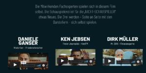 Film Norbert Peter mit Ganser, Jebsen und Müller als Werbeträger für Spendensammlung (Quelle: Screenshot mut-der-film.de)
