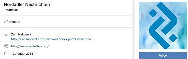 """""""Nordadler Nachrichten"""" mit Link auf Website """"ss-hauptamt"""" (Screenshot vk.com)"""