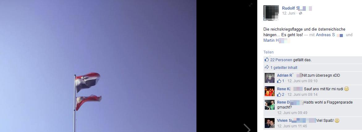 Reichskriegsflagge über den Zelten während dem Nova-Rock 2015