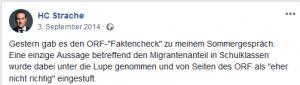 Strache zu ORF-Faktencheck Sommergespräch 2014