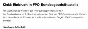 """Presseaussendung Kickl 2005: """"Einbruch in der FPÖ-Bundsgeschäftsstelle"""""""
