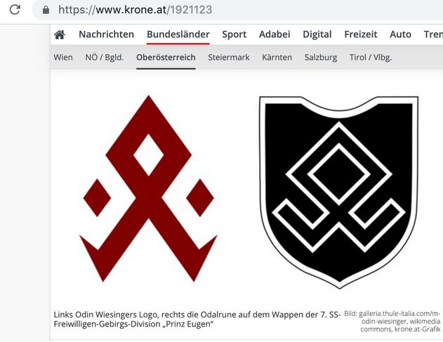 "links Logo Wiesinger, rechts Odalrune 7. SS-Freiwilligen-Gebirgs-Division ""Prinz Eugen"""