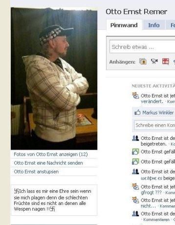 FB-Profil Otto Ernst Remer alias Jürgen W. mit Hakenkreuz