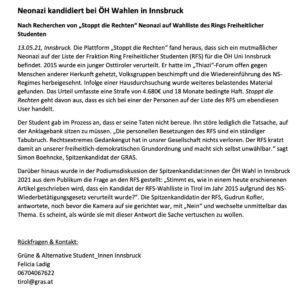 Presseaussendung GRAS Innsbruck