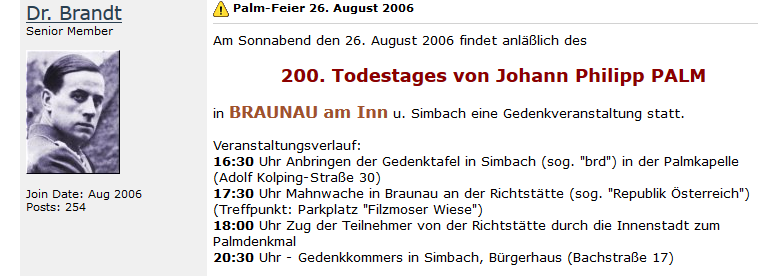 """""""Dr. Brandt"""" in einem Neonazi-Forum zum Ablauf der Palm-Feier in Simbach und Braunau"""