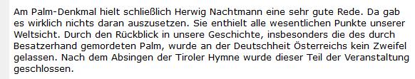 """Neonazi """"Dr. Brandt"""" lobt die Rede von Herwig Nachtmann beim Palm-Gedenken in Braunau 2006"""