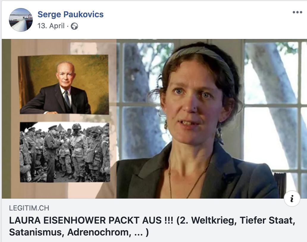 """Paukovics teilt Verschwörungsvideo """"Laura Eisenhower packt aus !!! (2. Weltkrieg, Tiefer Staat, Satanismus, Adrenochrom, ...)"""""""""""