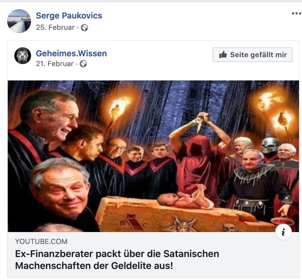 """Paukovics teilt Verschwörungsvideo """"Ex-Finanzberater packt über die Satanischen Machenschaften der Geldelite aus!"""""""