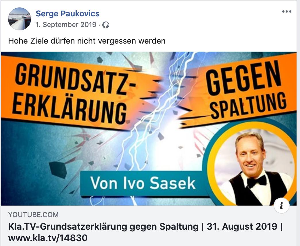 """Paukovics teilt Kla.tv des Sektenführers Ivo Sasek mit dem Kommentar: Hohe Ziele dürfen nicht vergessen werden"""""""
