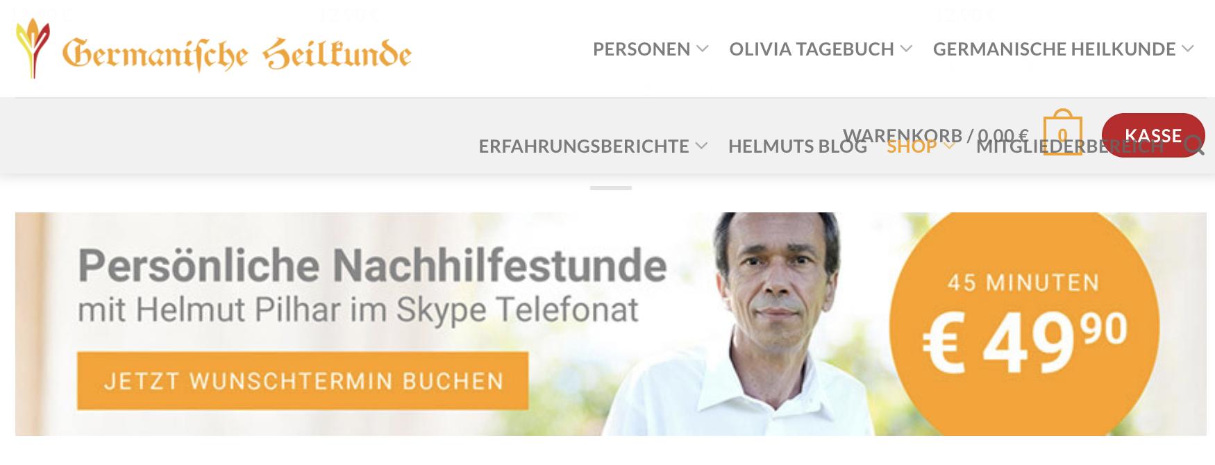 """Pilhars Germanische Heilkunde neu – mit """"Nachhilfe"""" via Skype um 49,90€/Stunde und """"Kasse""""-Button"""