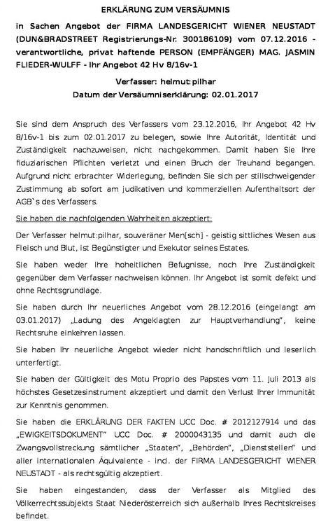 Pilhar tadelt das Landesgericht Wiener Neustadt mit päpstlicher Hilfe