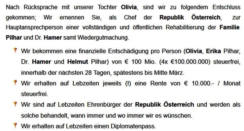 Pilhars bescheidene Forderung an VdB: 100 Mio. als finanzielle Entschädigung usw.