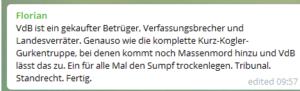 """Kommentar bei Belsky: """"VdB ist ein gekaufter Betrüger (...) Tribunal. Standrecht. Fertig."""