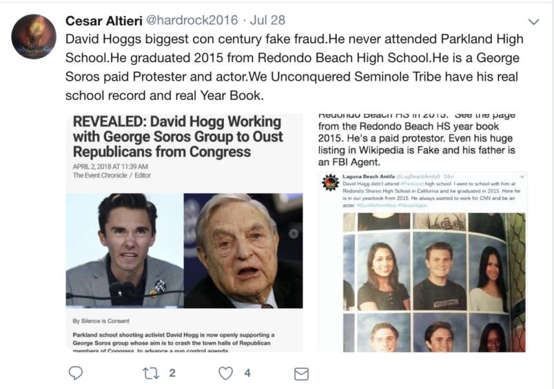 Posting von Cesar Sayoc alias Altieri zu Soros/Hitler