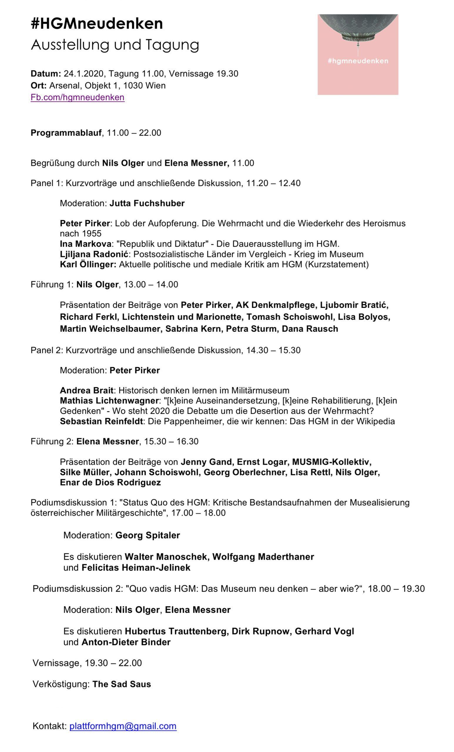 Programm HGMneudenken, 24.1.2020, Arsenal