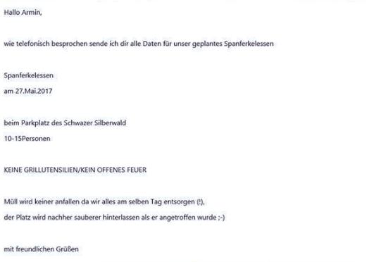 """Benjamin Kranzl, RFJ-Obmann, veröffentlichte die Anmeldung des RFJ-Spanferkelessen am Grundstück des Waldkindergartens bei """"Armin"""""""