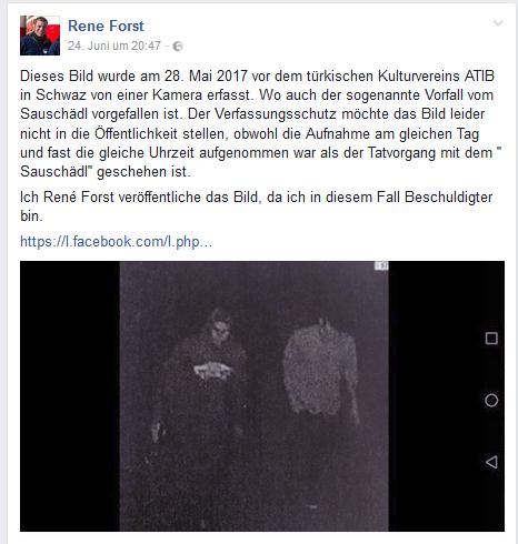 Rene Forst, Stellvertreter des RFJ-Obmanns, outet sich auf Facebook als Beschuldigter im Verfahren und veröffentlicht ein Bild aus einer Überwachungskamera - zu welchem Zweck bleibt vorerst schleierhaft.