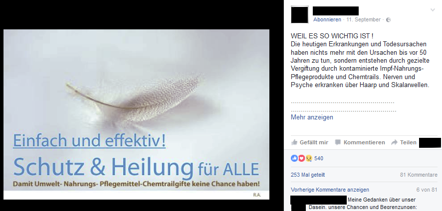 """""""Schutz und Heilung"""" gegen """"Pflegemittel-Chemtrailgifte"""""""