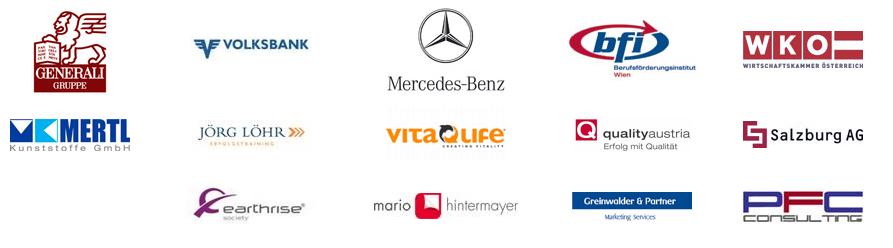 """Die Angeklagte wirbt mit folgenden Firmen als """"Referenzen"""" auf ihrer Homepage"""