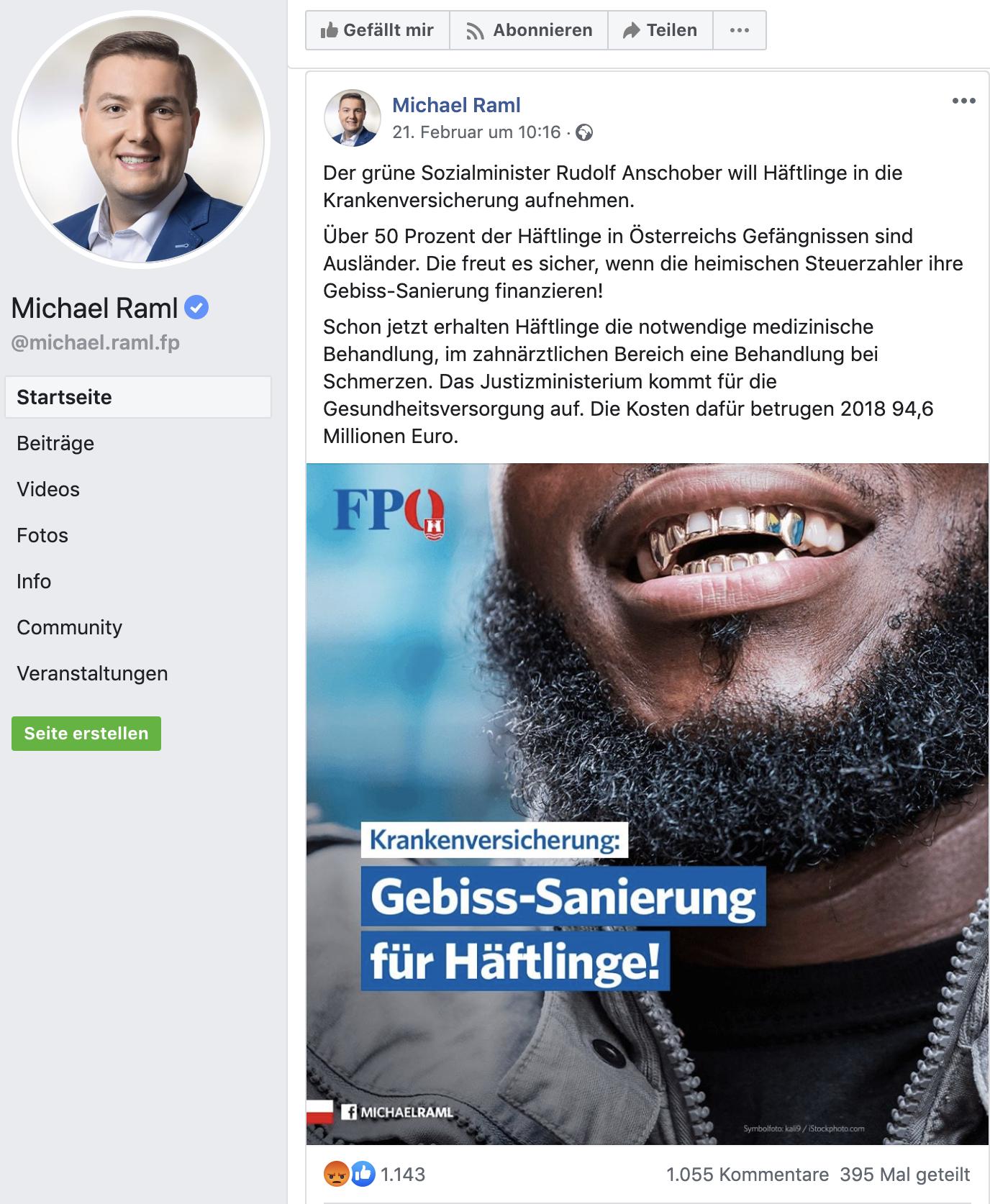 """Raml Hetz-Posting: """"Gebiss-Sanierung für Häftlinge"""""""